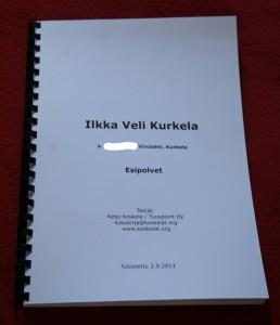 Sukukirja tulostettuna